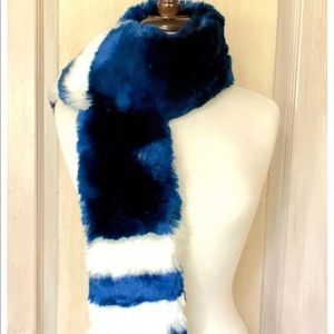 Urban Outfitters Scarf Wrap Faux Fur Blue White